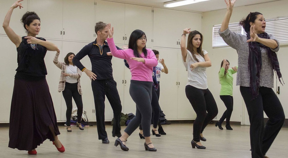 (Nagisa Mihara/Courier) Professor Clarita Corona teaches the World Dance: Spain/Protugal class the Fandango, a couples dance from Spain on February 3rd at the W building.