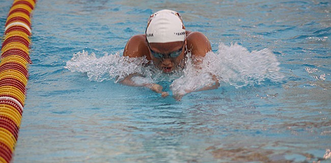 Sophomore swimmer Shannon Cheung was last year's Southern Coast Conference Swimmer of the year, at the pool in the W building, on Tuesday during swim practice. (Rocio Vera/Courier)