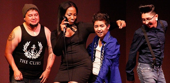 Melvin Moreno, aka Monae, won the $300 grand prize at PCC's drag show Thursday, April 17, 2014 in Harbeson hall. (Charles Winners/Courier)