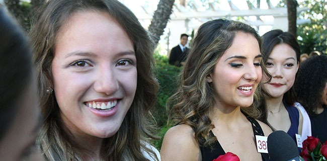 Moments after being named to the Royal Court, first-year students from Pasadena City College Veronica Mejia and Mackenzie Byers react and smile at the announcements for the 2015 Tournament of Roses Royal Court for the 126th Rose Parade at the Tournament House in Pasadena on Monday, October 6, 2014. Seven young women were selected out of a pool of 31 finalists which started with over 700 Pasadena-area young women. (Courtesy Photo)