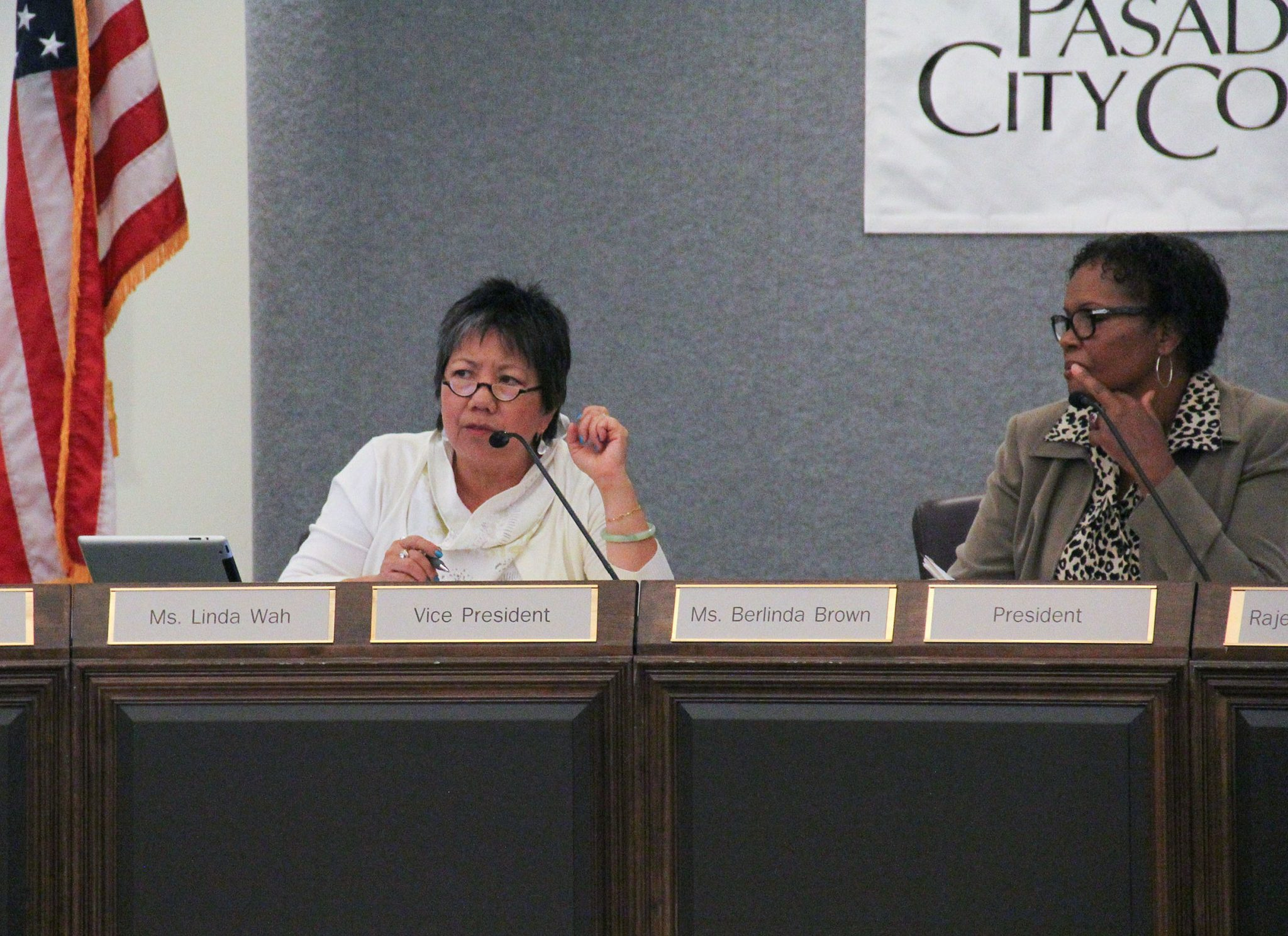 Anthony Galindo/Courier Ms. Linda Wah, vice president of the Board of Trustees, gives feedback on public comments at the Board of Trustees meeting on Thursday, September 2, 2015.
