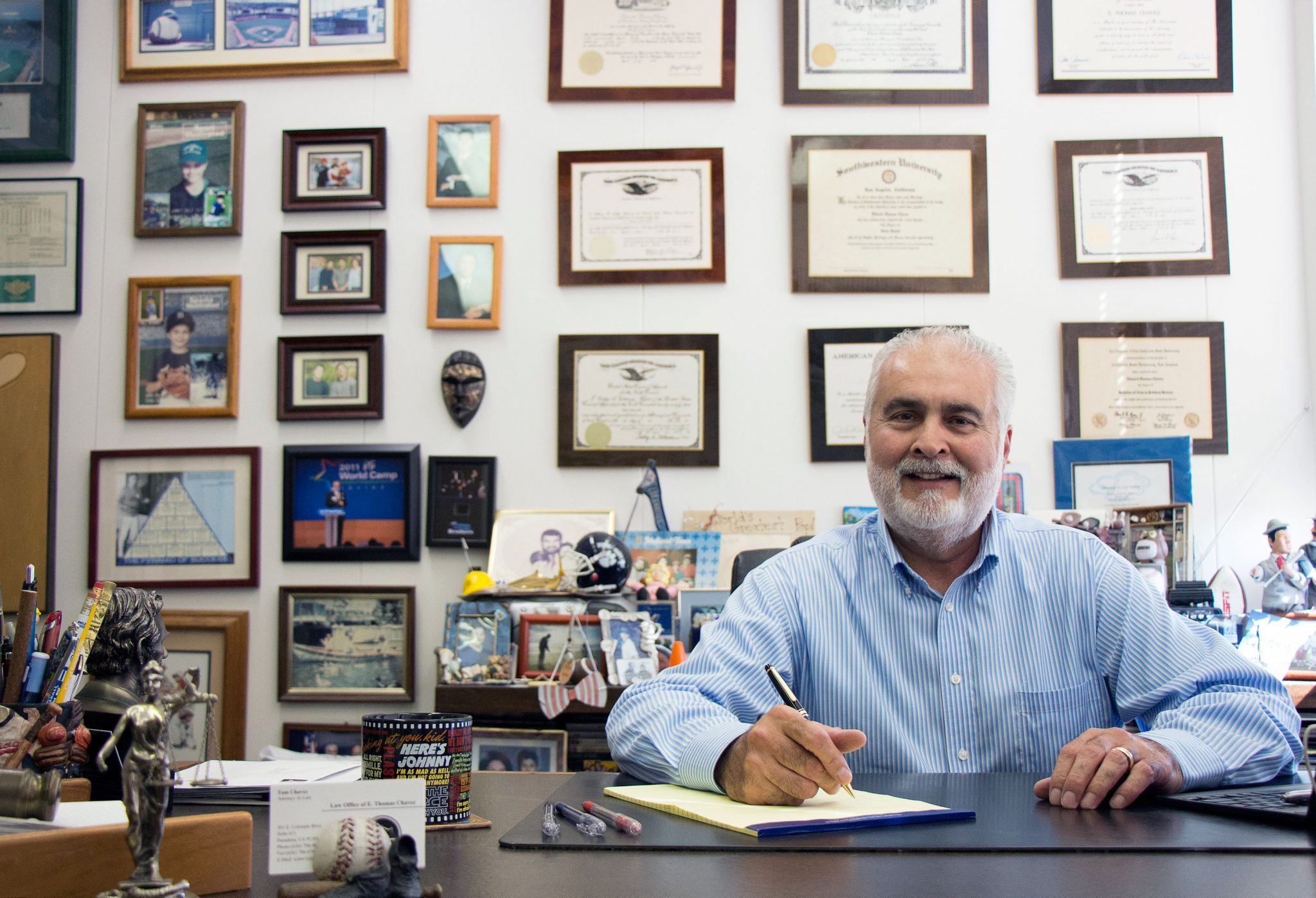 Keely Damara/Courier E. Tom Chavez, 61, of Temple City sits at his desk in his law office in Pasadena, Calif. on Friday, September 11, 2015. Chavez has served on the Temple City City Council since 2009. He first served as mayor in 2011 and again in 2015. He has practiced civil law for 30 years and has taught law classes part-time at PCC for 23 years.