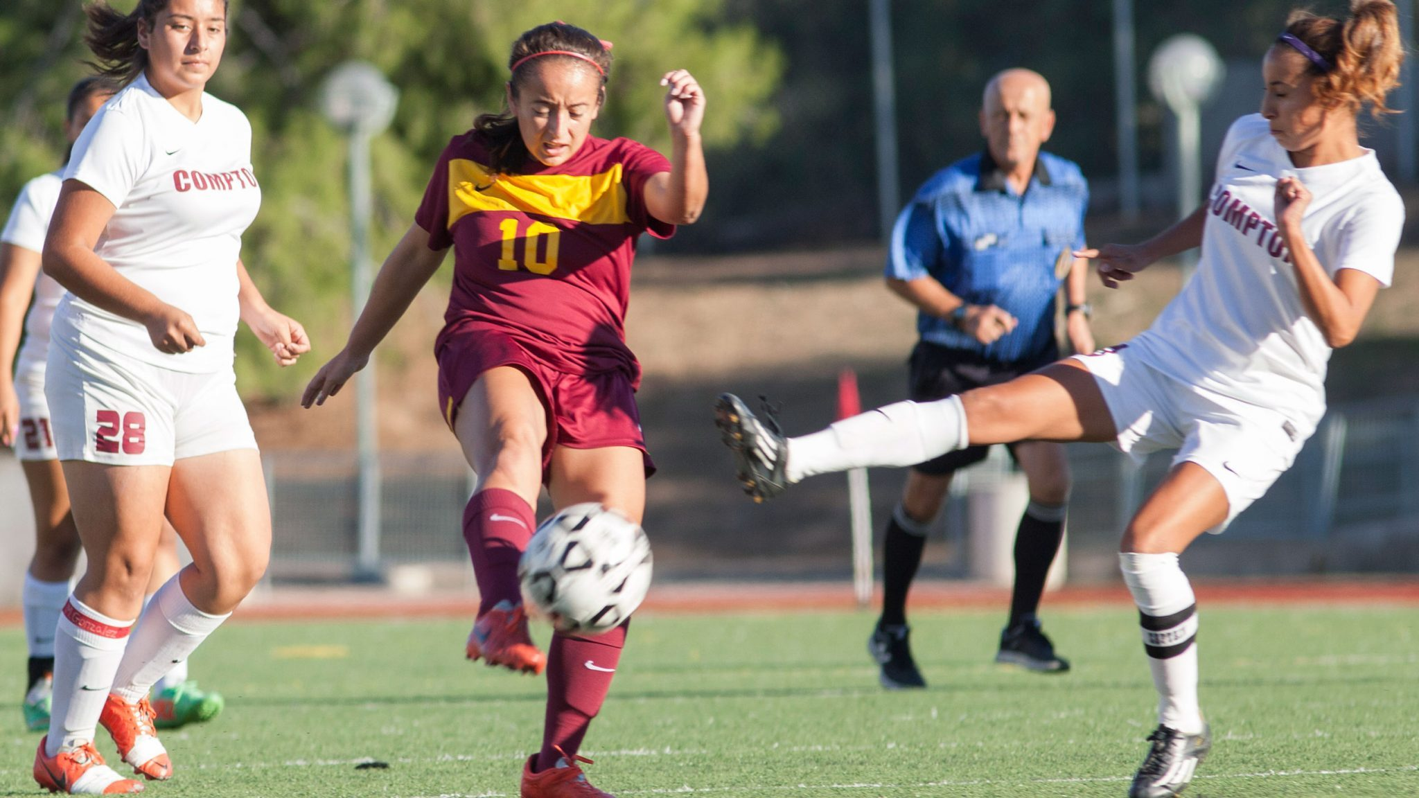 Katja Liebing/Courier Lancer forward Elena Heuze attempts a header at Robinson Stadium in a conference game against ECC Compton at Pasadena City College on Friday, November 6, 2015.