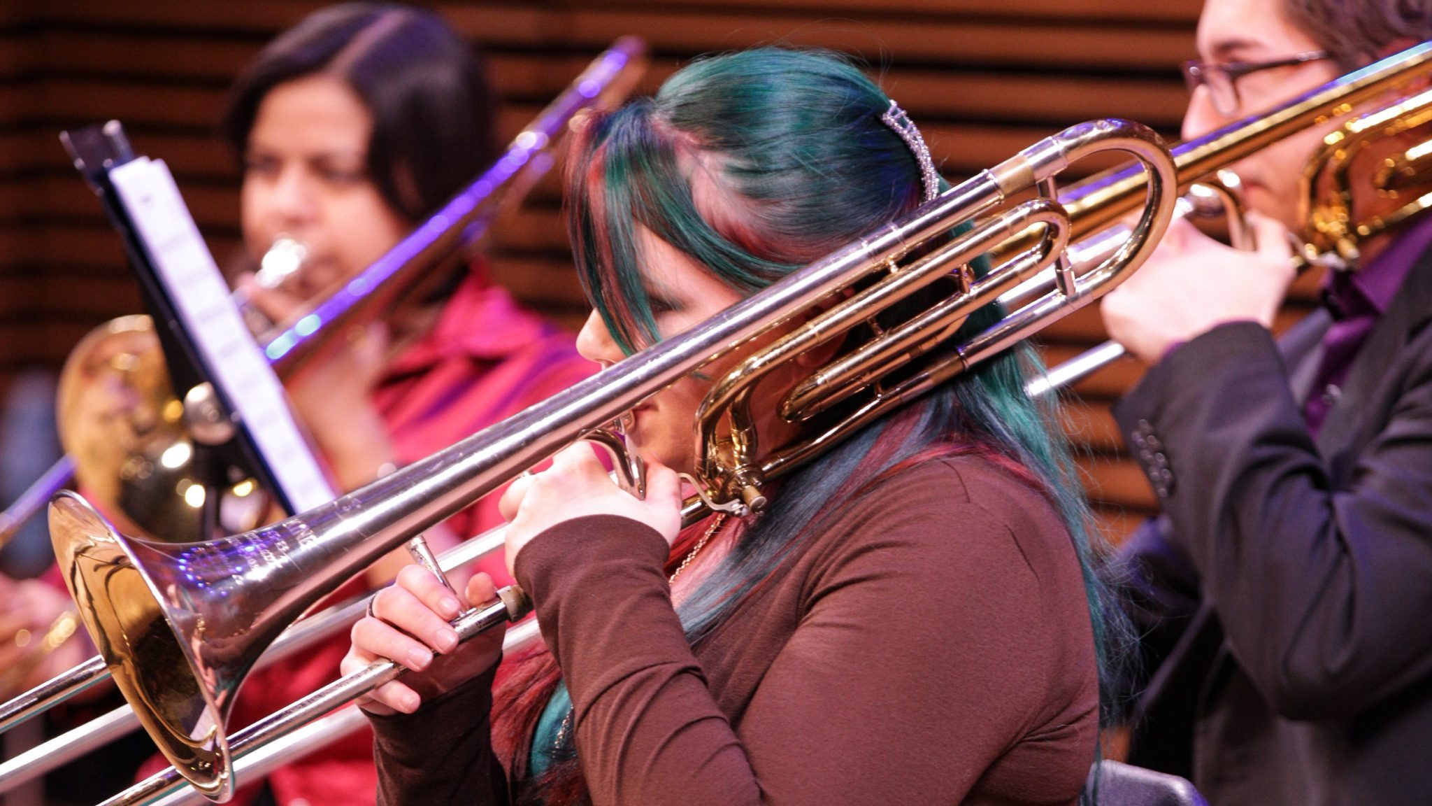 Katja Liebing/Courier Members of the Sembi-Five Quintet give their end of semester performance in Westerbek Hall at Pasadena City College on Thursday, December 3, 2015.