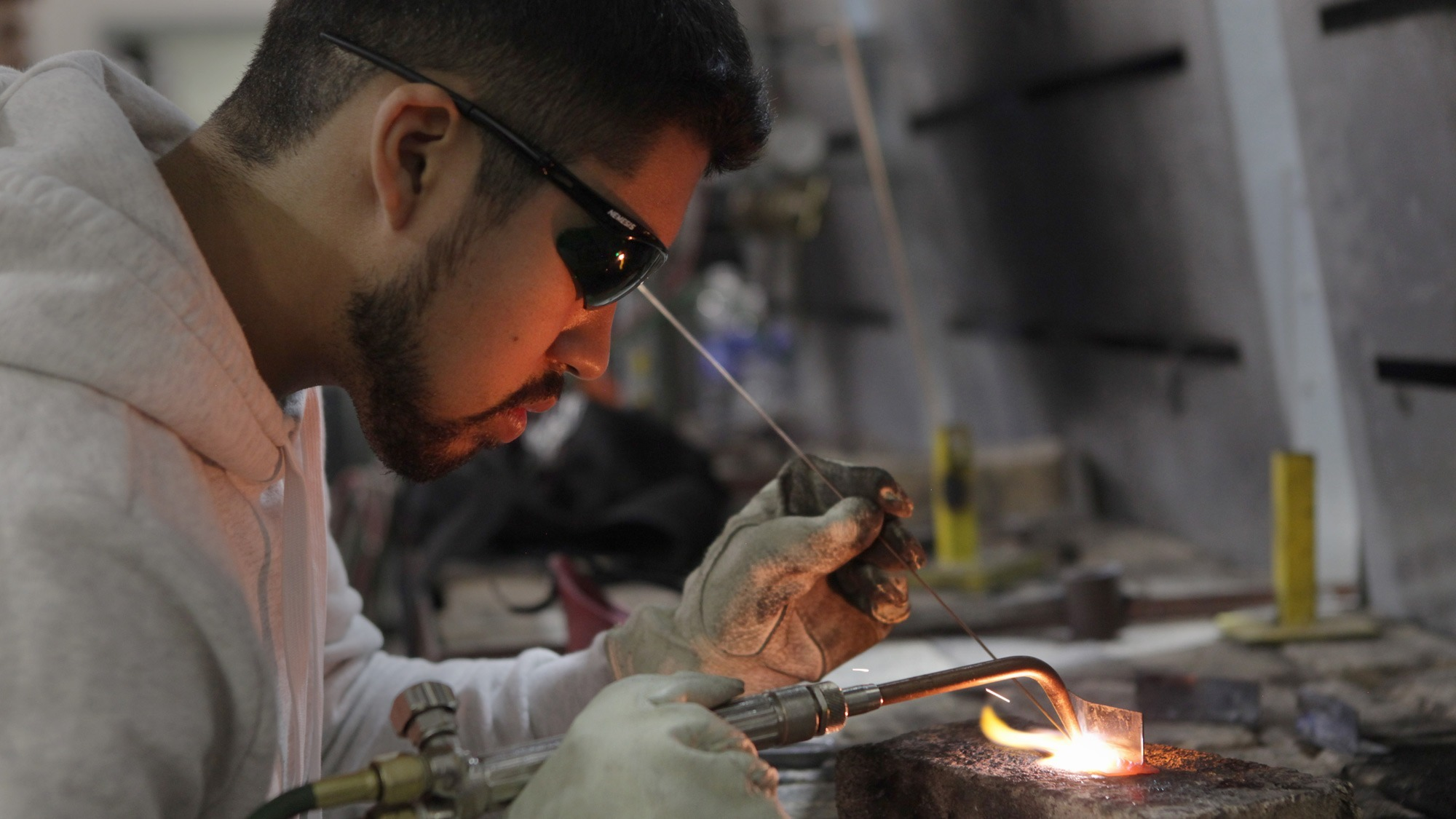 Kristen Luna/Courier Welding student Marco Ruiz, 23 working on a project for class in lab held at IT 137 on Wednesday, January 26, 2017. Ruiz has been studying welding for a year and a half and loves every moment of it.