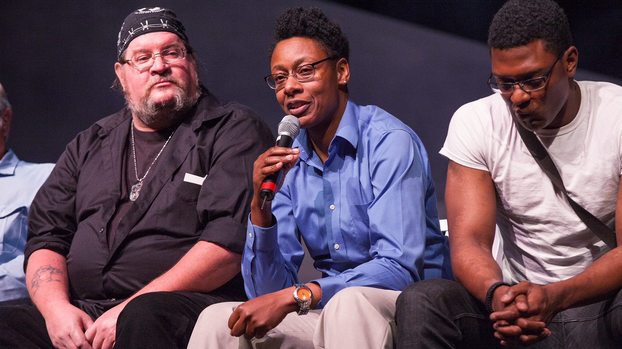 Katja Liebing/Courier - Veteran and PCC student Ronisha 'Mickey' Mitchell talks about her experiences while serving during TalkBack Tuesday at the Pasadena Playhouse on Tuesday, February 9, 2016.