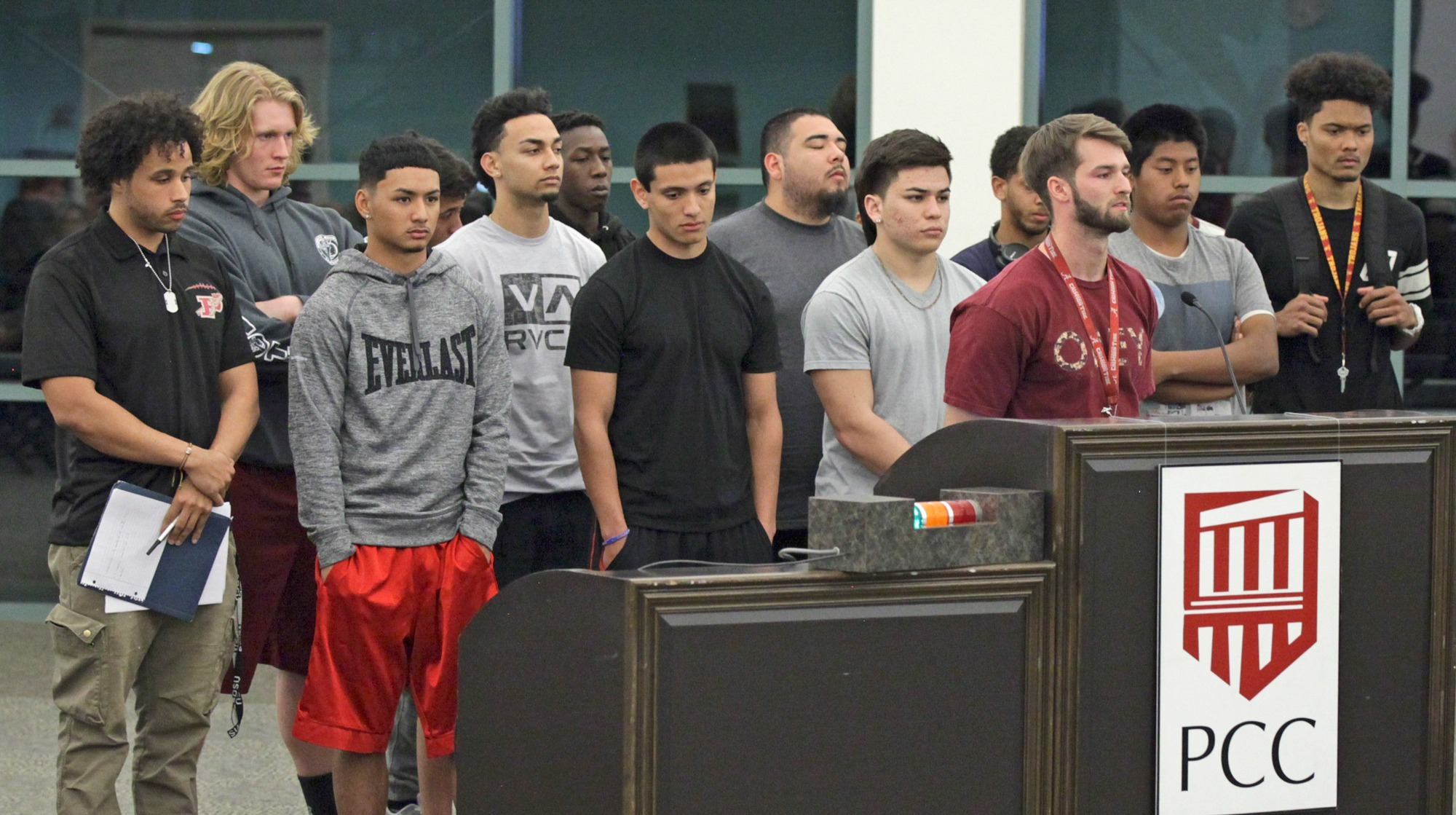 Katja Liebing/Courier Member of the Board of Trustees meeting listen to the football players of Pasadena City College speak out about the removal of their coach Thom Kaumeyer during a meeting on Wednesday, February 24, 2016.