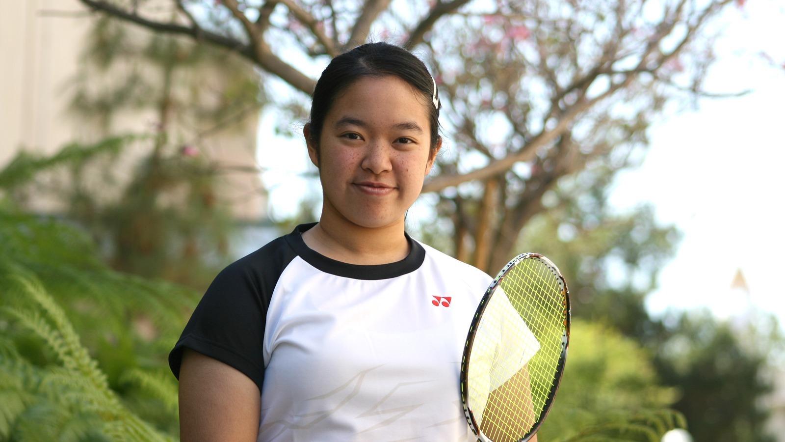 Monique A. LeBleu/Courier Rebecca Tzou, in Badminton doubles practice with partner, Sandra Maw, at the GM building on Thursday, March 24, 2016.